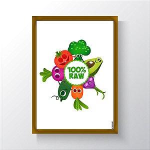 Quadro Vegano Moldura Dourada - 100% RAW