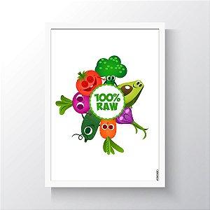Quadro Vegano Moldura Branca - 100% RAW