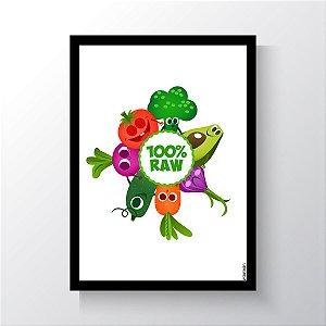 Quadro Vegano Moldura Preta - 100% RAW