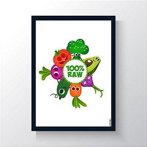 Quadro Vegano Moldura Azul - 100% RAW