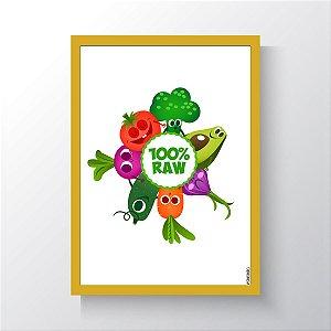 Quadro Vegano Moldura Amarela - 100% RAW