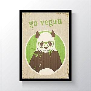 Quadro Vegano Moldura Preta - Go Vegan Panda