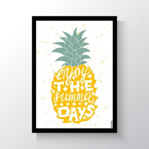 Quadro Vegano Moldura Preta - Enjoy The Summer Days