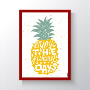 Quadro Vegano Moldura Vermelha - Enjoy The Summer Days