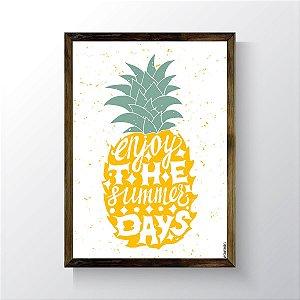 Quadro Vegano Moldura Natural - Enjoy The Summer Days