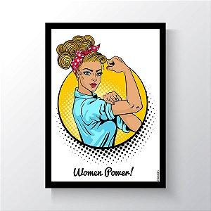 Quadro Vegano Moldura Preta - Women Power V2