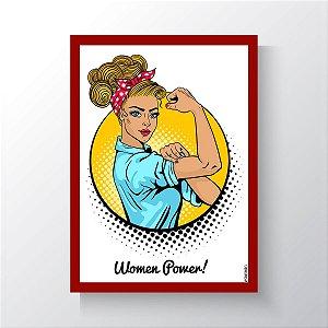 Quadro Vegano Moldura Vermelha - Women Power V2