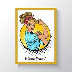 Quadro Vegano Moldura Amarela - Women Power V2