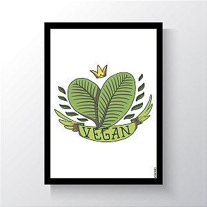 Quadro Vegano Moldura Preta - Vegan Crown
