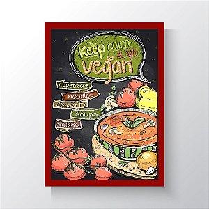 Quadro Vegano Moldura Vermelha - Keep Calm And Go Vegan