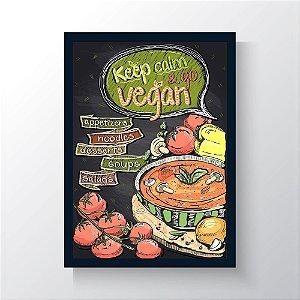 Quadro Vegano Moldura Azul - Keep Calm And Go Vegan