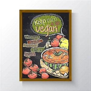 Quadro Vegano Moldura Dourada - Keep Calm And Go Vegan