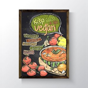 Quadro Vegano Moldura Natural - Keep Calm And Go Vegan