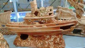 Enfeite de aquários Barco envelhecido com Chamine - 35x22x15