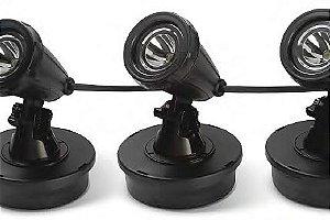 Luminaria LED com 3 spots para uso submerso ou externo Water Garden Max WG33 127V