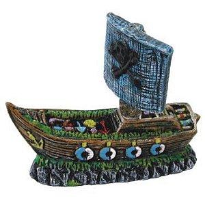 Enfeite para aquários - Barco Pirata decorado tamanho médio