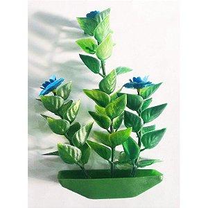 Planta plástica para ornamentação de aquários Bacopa c/flor pequena - Mr Pet - 6132