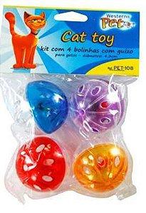 Brinquedo Western Para Gatos Bola com Guizo Colorido