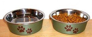 Comedouro e bebedouro em Inox Bella Bowl Paparazzi Artichoke (verde) - 11cm