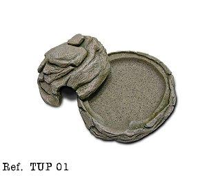 Toca umida pequena em resina para aquários e terrarios TUP01 15x8x18cm
