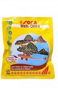 Alimento completo para peixes ornamentais de fundo Sera Wels Chips 15g