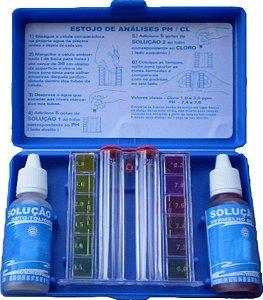 Kit de medição de Ph e cloro para piscina com estojo - 23ml cada solução