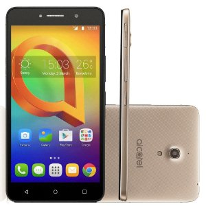 "Alcatel A2 XL HD Dourado- Tela de 6"" IPS HD, 16GB, 1GB RAM, Quad-Core, Câmera 13MP + Frontal de 8MP, Android 5.1"