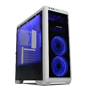 Gabinete Gamer Tornado Branco e Preto LED Azul – Mymax