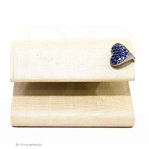 Ear Cuff  - Coração Rodio com azul