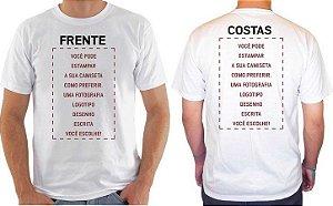 Camiseta Personalizada Frente e Costas (Mínimo 10 Peças)