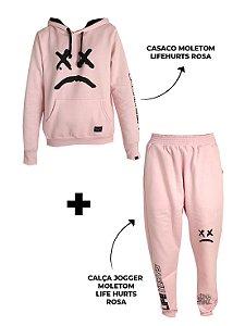 Kit Casaco Moletom + Calça Jogger Life Hurts Rosa