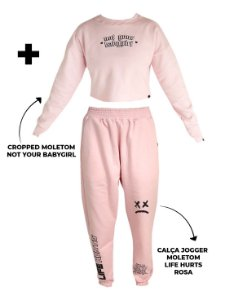 Kit Y2K - Calça Jogger Life Hurts + Cropped Moletom Not Your Babygirl Rosa