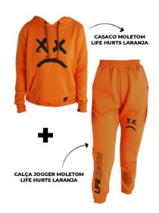 Kit Casaco Moletom + Calça Jogger Life Hurts Laranja