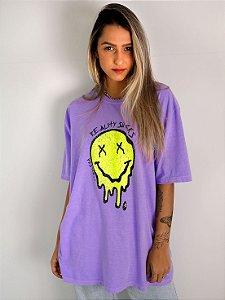 Camiseta Boyfriend Smiley Lilás