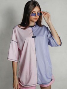 Camiseta Boy Over Bicolor The Secret Lilás/Rosa
