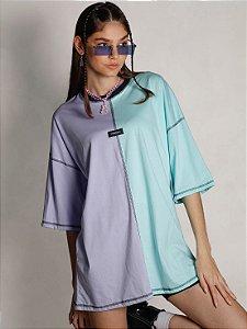 Camiseta Boy Over Bicolor The Secret Lilás/Azul