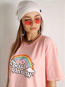 Camiseta Basic Social Anxiety Rosa Estonado