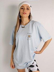 Camiseta Basic Remember To Breathe Azul Estonada