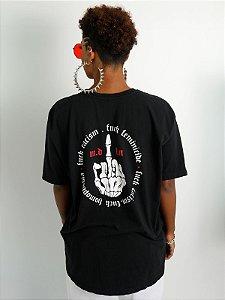 Camiseta Boyfriend Fuck Finger Preto
