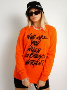 Camiseta Manga Longa  Who Are You Laranja