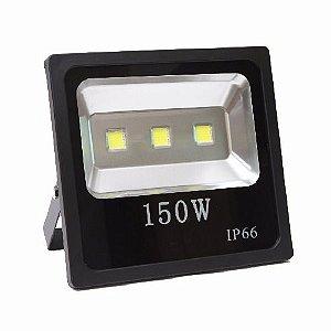 Refletor Holofote LED 150w Branco Frio 6000k Preto Slim