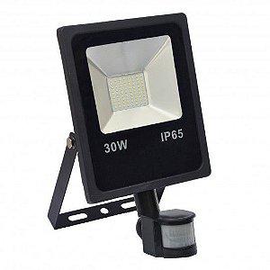 Refletor Holofote MicroLED 30w Sensor de Presença Branco Frio 6000k