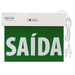 Sinalização Saída de Emergência LED Acrílica - Verde
