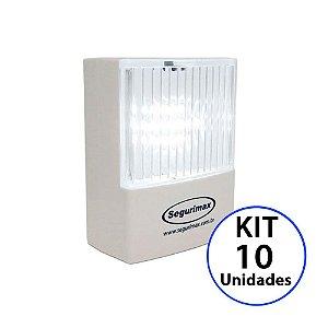 Kit 10 Luminária de Emergência LED 50 Lúmens | Plug Retrátil