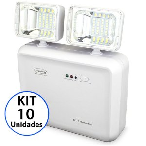 Kit 10 Luminária de Emergência LED 1200 Lúmens | 2 Faróis