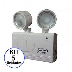 Kit 5 Luminária de Emergência LED 200 Lúmens | 2 Faróis