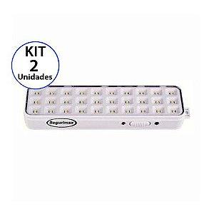 Kit 2 Luminária de Emergência 30 LEDs | Slim