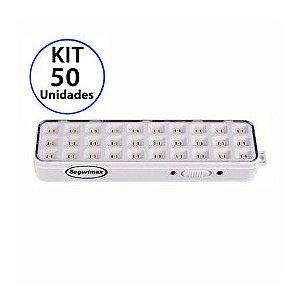 Kit 50 Luminária de Emergência 30 LEDs | Slim
