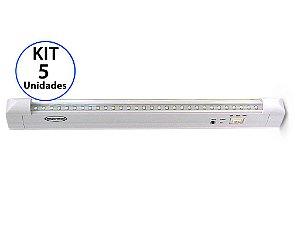 Kit 5 Luminária de Emergência 30 LEDs | Super Slim