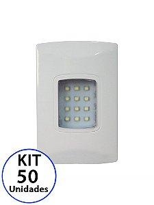Kit 50 Luminária de Emergência 100 Lúmens | Embutir